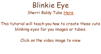 Blinkie Eye  Sherri Baldy Tube Here  This tutorial will teach you how to create those cute  blinking eyes for you images or tubes.  Click on the video image to view